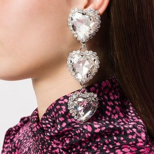 Alessandra rich three drop heart crystal earrings